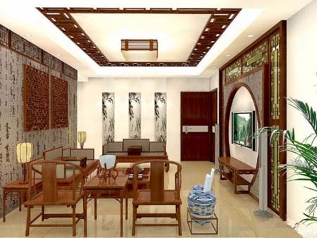 中式别墅效果图——客厅