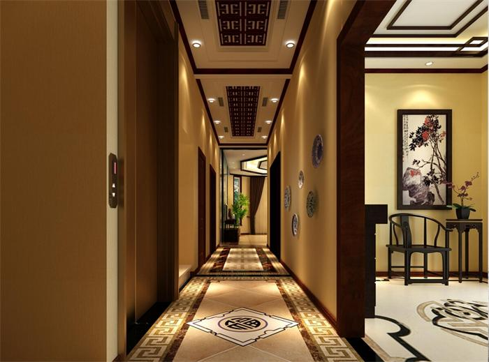 高端别墅过道设计照 新中式别墅走廊设计效果图高清图片