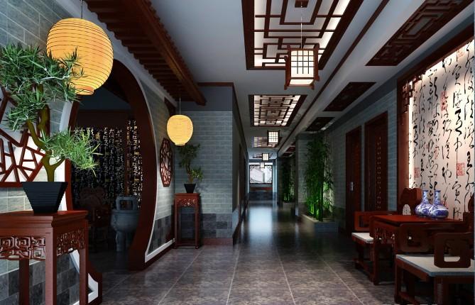 中式茶楼走廊设计效果图