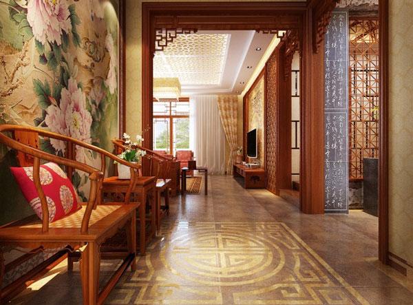 新中式别墅走廊设计效果图高清图片