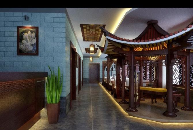 中式会所走廊设计效果图高清图片