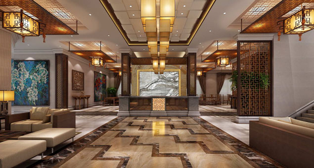 宾馆中式装修设计风格---大厅