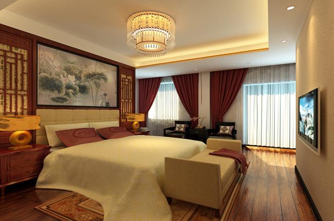 新中式四合院卧室设计效果图图片