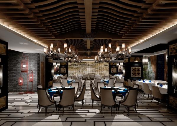 新中式酒店餐厅设计效果图高清图片