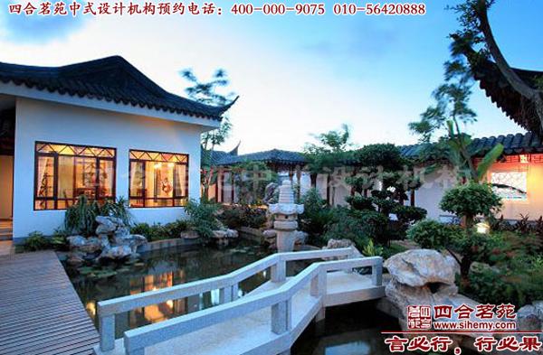 中式庭院设计效果图一般是设计回廊,花坛,假山等颇具中国元素的图片