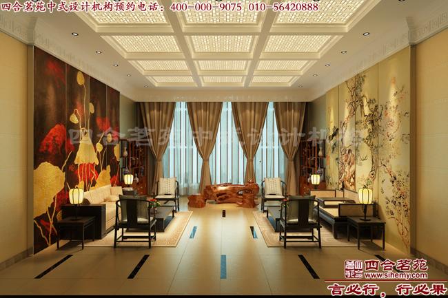 雅、沉韵的东方意境.   这张中式会馆设计效果图中,整体的观