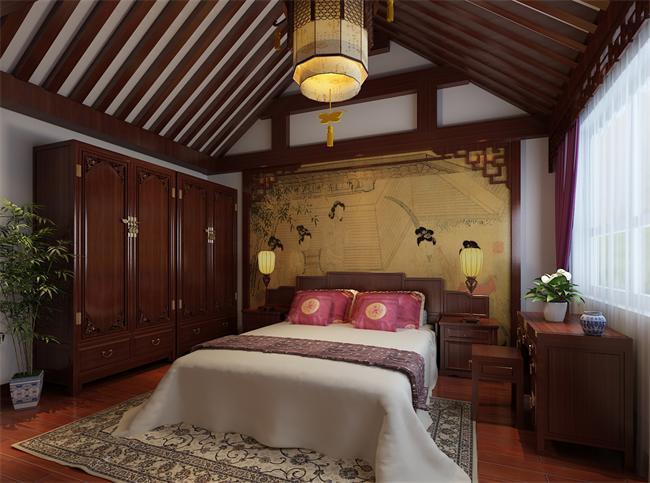 四合院卧室设计里的古典文化背景墙图片