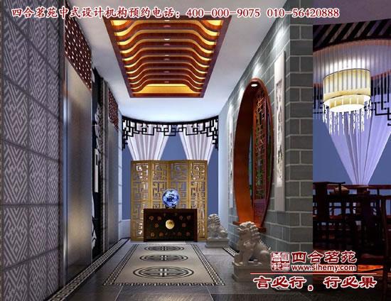 新中式风格茶楼过道装修效果图高清图片