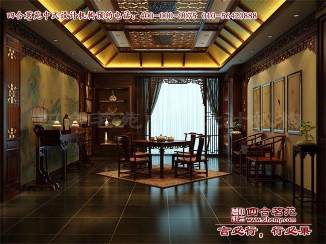 中式 会所设计堂屋中板壁是装修的重点,也最能体现尊贵气质,苍山逶迤图片