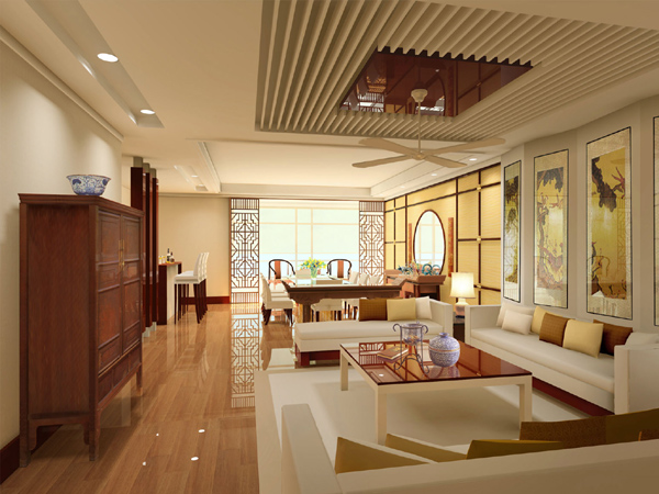 新中式风格家居设计效果图展示-中式家装图库 四合茗苑中式装修网图片