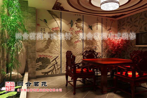 茶楼中式装修效果图中的花鸟画背景墙设计