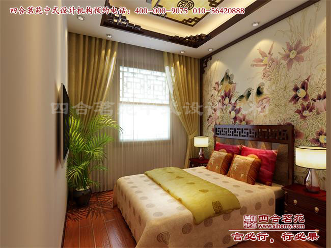 现代中式装修样板房卧室设计效果图高清图片