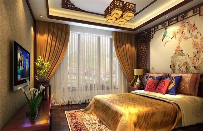 别墅中式室内设计卧室效果图