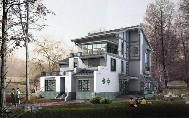 独栋别墅庭院景观设计方案