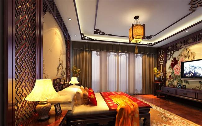 四合院别墅卧室背景墙设计中的花鸟山水画图片