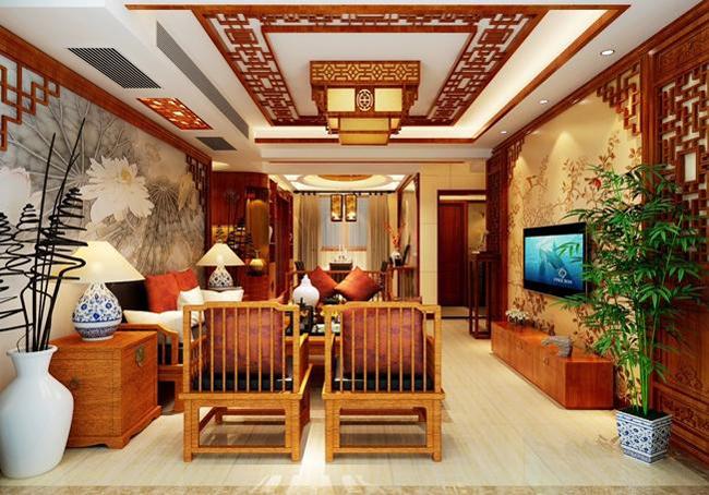 如果在中式设计案例中,加以渲染色彩较为浓烈的设计笔锋,难免会给欣赏者或居住者带来视觉压力。所以在此例中式别墅装修设计案例中,设计师在正统中国风的设计诉求前提下,运用红木等中式经典设计素材的不同色泽,为客户呈现出靓丽纷呈的设计效果。  客厅餐厅一体化的室内结构 对于很多喜欢在中式设计风格的人来说,红木的质感是无可取代的,很多人都将红木家具,看作是中式装修风格的代表元素之一。此案中的红木家具,或釉色上等,或原色古朴,不同色调的木质感觉,共同凸显中式别墅装修设计风格的魅力。