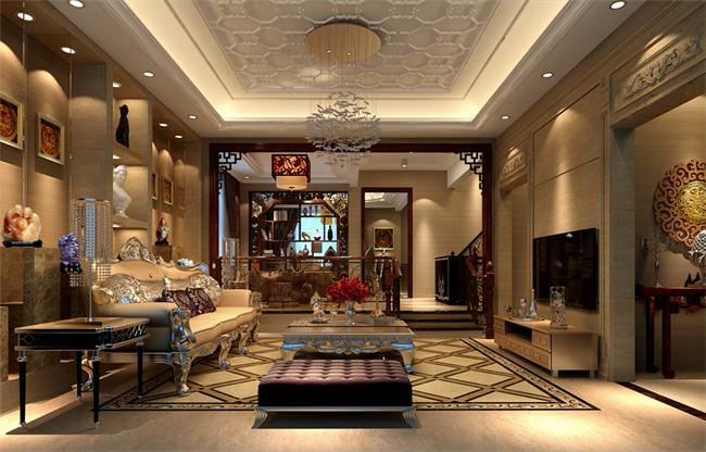 采用中西結合的設計風格來設計的豪華別墅客廳效果