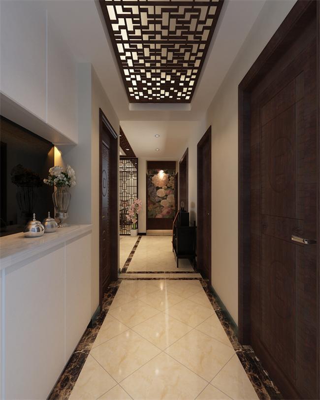别墅门厅过道设计中的花格吊顶装饰