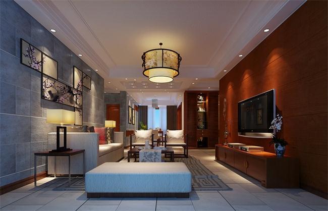 中式客厅设计效果图中沙发背景墙设计高清图片