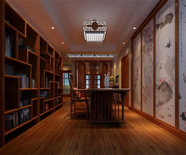 别墅书房设计里的新中式玄关设计方案