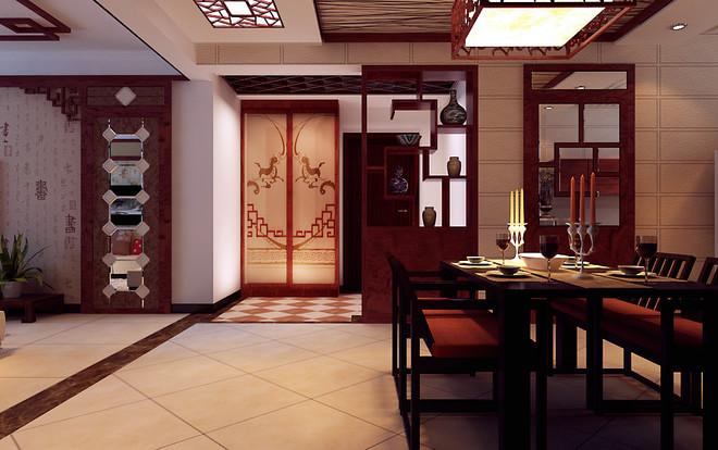 餐厅装修中简约化的中式隔断 博古架