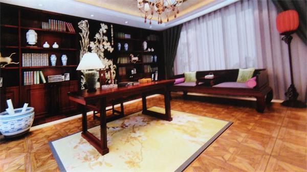 通过中式别墅室内装修效果图看别墅装修中禅意风格书房所表现出的沉稳
