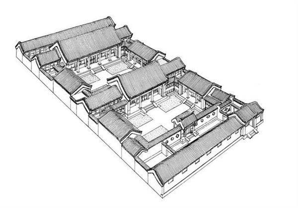 四进院四合院立面手绘图设计方案
