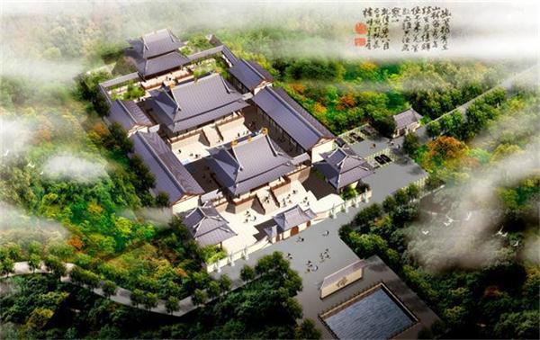 追求雅朴风格的园林建筑设计的中式别墅庭园效果俯视图-中式别墅庭