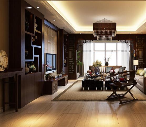 简述家居四合院客厅装修中电视背景墙的设计方式