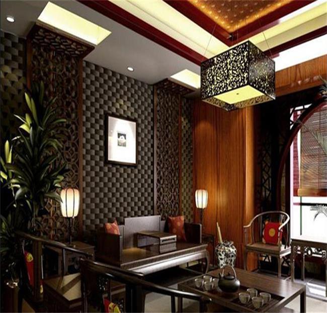 使现代办公家具与中式茶楼装修效果图相容相依相成.背景墙的造型,
