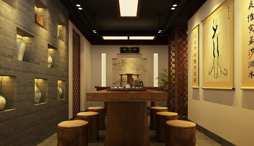 茶室设计平面图 茶室设计案例 茶室设计说明 茶室设计效果图 -茶室设