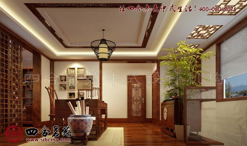 富成花园小区古典中式风格别墅设计装修效果展示