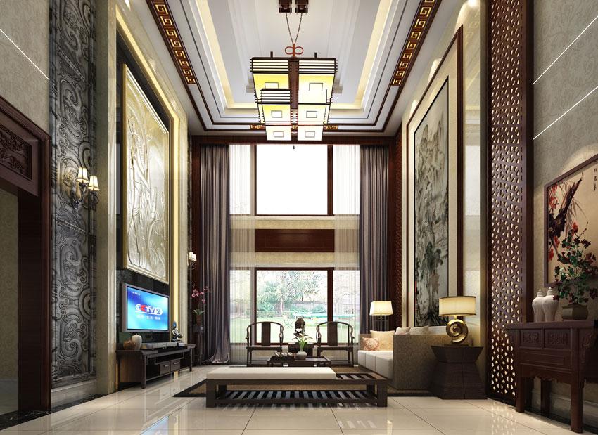 新中式别墅家居装修效果分析----[四合茗苑