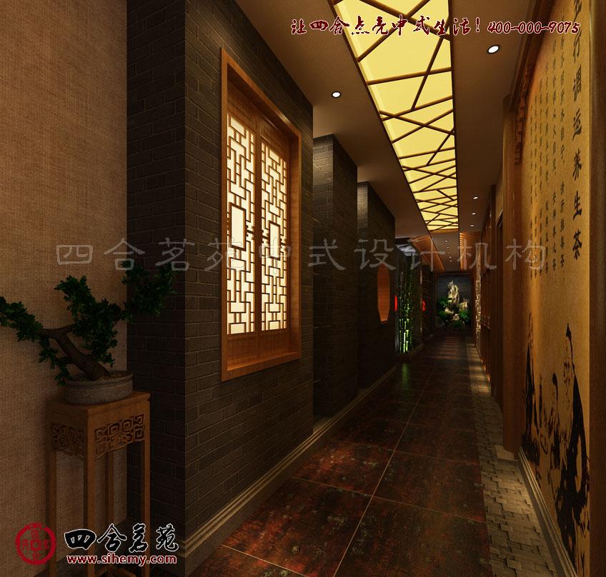 湖南乾月堂古典中式茶楼设计效果欣赏----[四合茗苑]图片