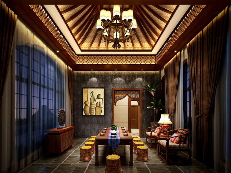 欣赏别墅新中式设计效果 品味时尚家居高清图片