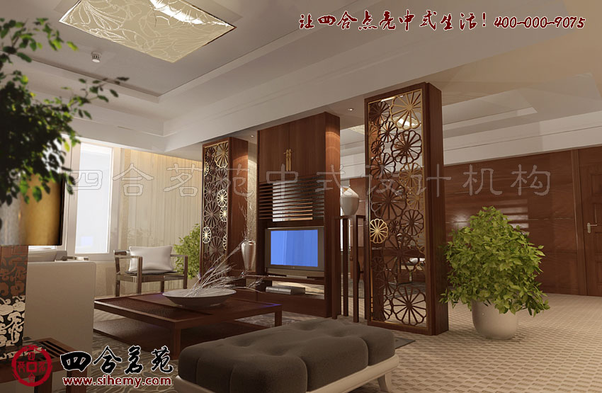 高档酒店装修中的新中式设计时尚效果----[四合茗苑]