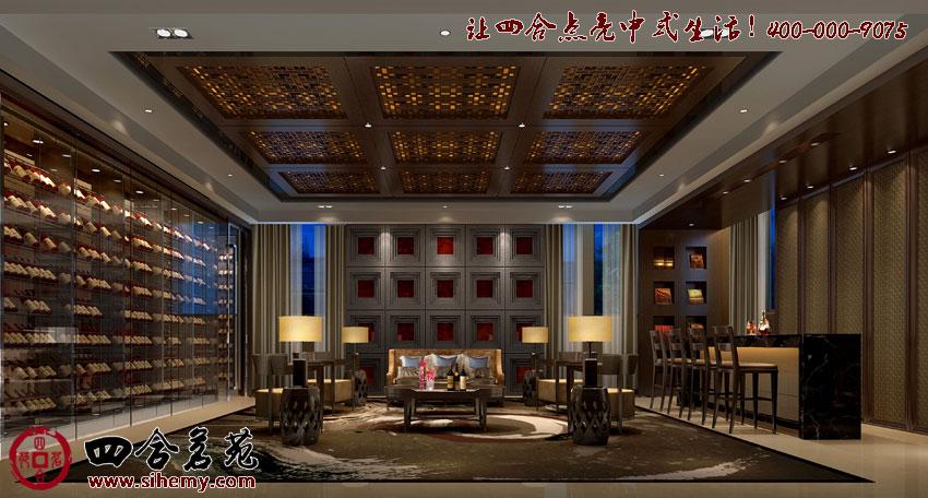 這張新中式風格裝修圖片展示了大廳內景