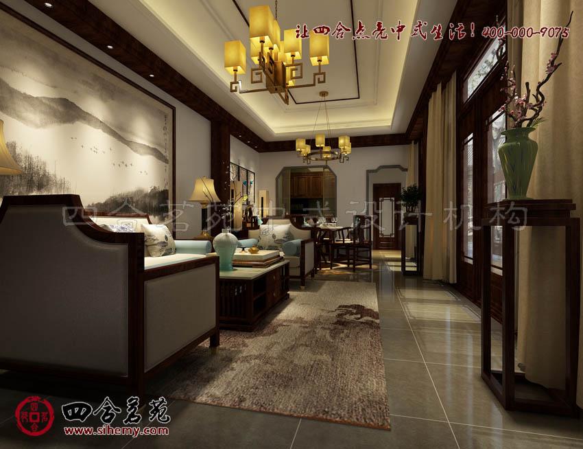 新中式风格样板间设计效果图客厅