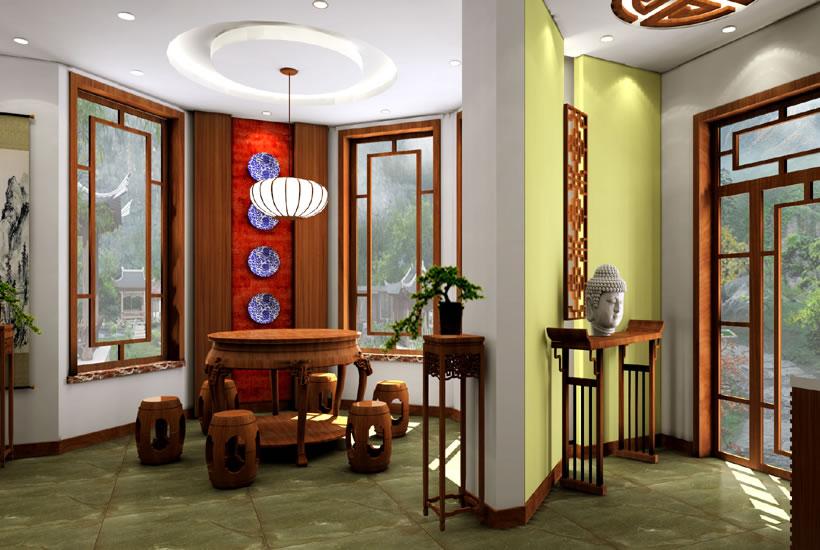 中式独栋别墅设计效果图中的二方连续纹样----[四合茗苑](图文)