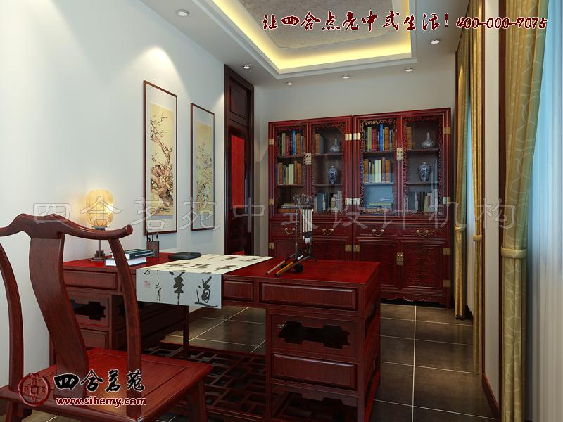新中式别墅设计效果图书房