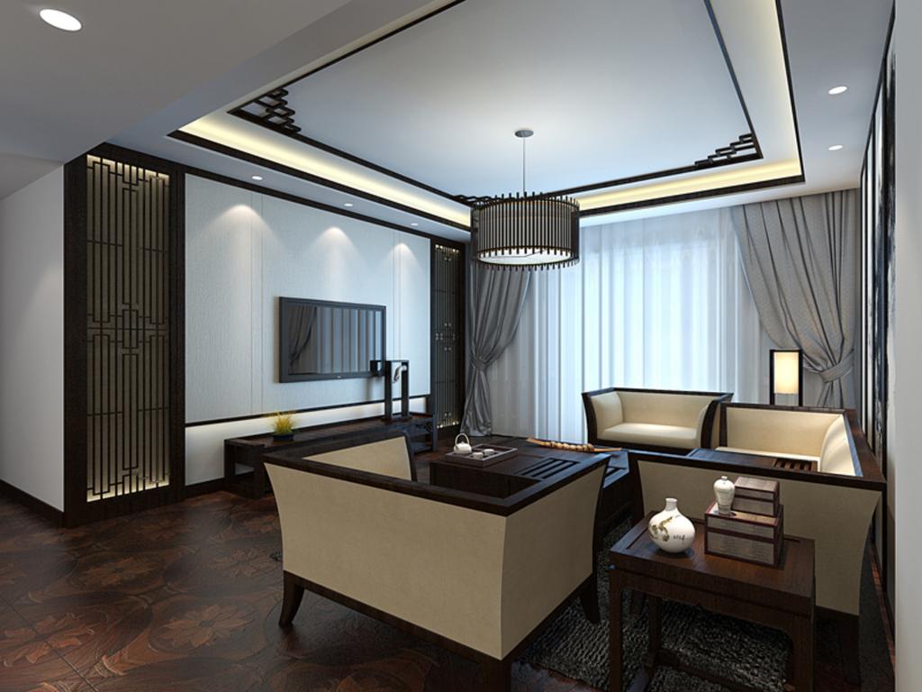 素雅新中式客厅装修效果图