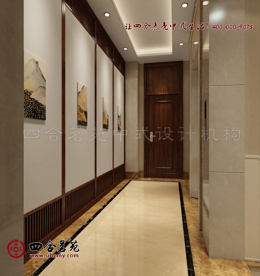 电梯间,铺装装饰简洁,天花板灯池运用灯槽和光线渲染带来立体感