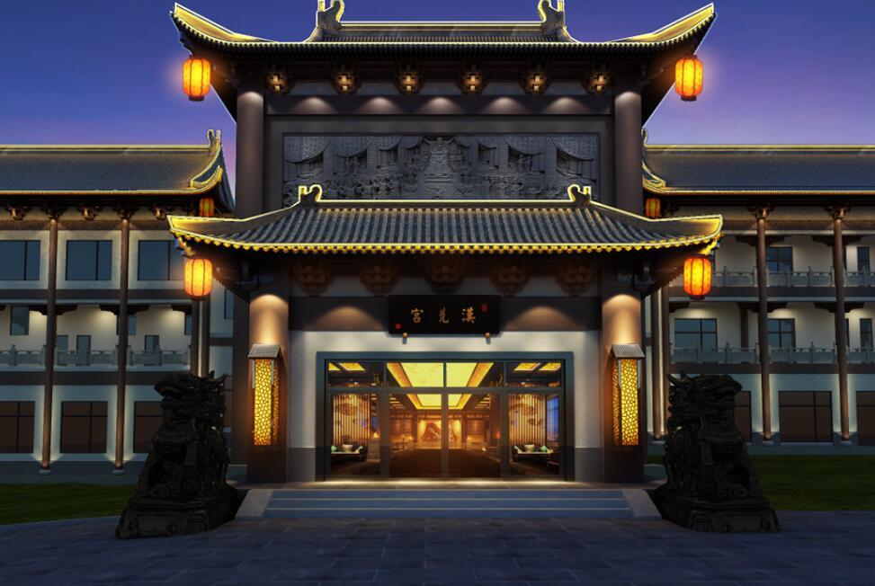 中式风格休闲会所设计,运用中式配饰。