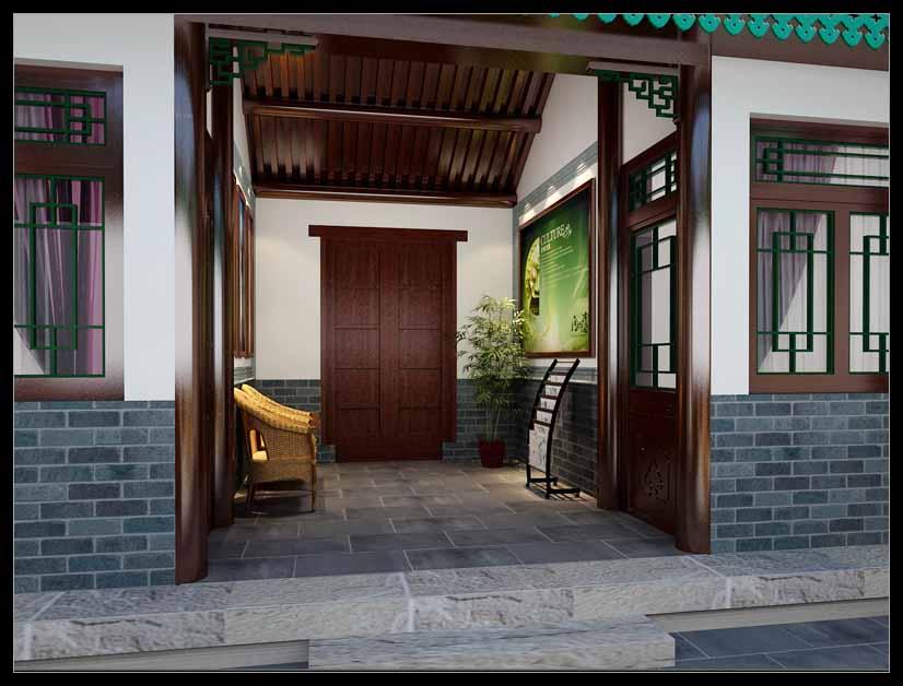 瓷器库四合院门厅中式设计效果图