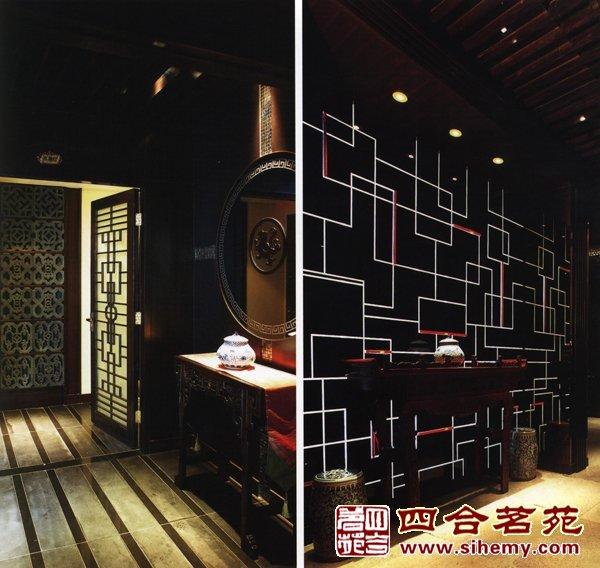 现代中式茶室 公园茶室设计一套方案 中式茶室墙浮雕高清图片
