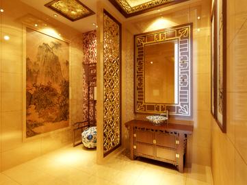 电梯间也是新中式风格设计,墙面采用仿灰色木.