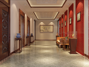 中式文化主题酒店餐厅部分另设接待大厅,电梯间也是新中式风格设计,墙