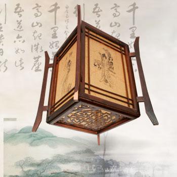 四角宫灯手绘图