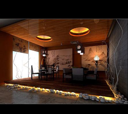 中式设计酒吧效果图