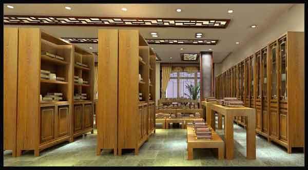 展厅中式设计之黄河书屋效果图一